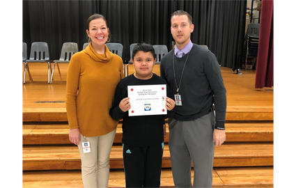 Congratulations to our Spelling Bee winner! He will represent our school in the county-wide Spelling Bee on March 5th at Stone Bridge High School.