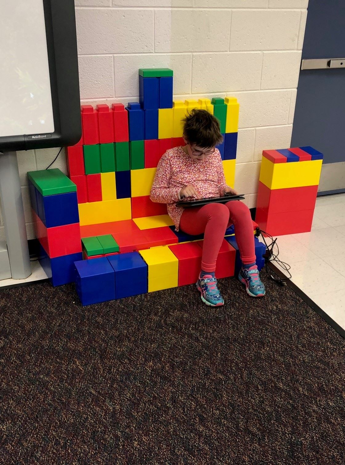 Student-constructed LEGO furniture adds to our workspace
