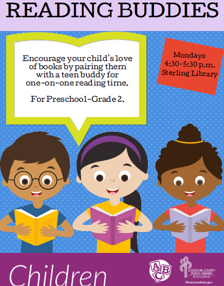 Reading Buddies Monday 4:30 - 5:30 @ the Sterling Library