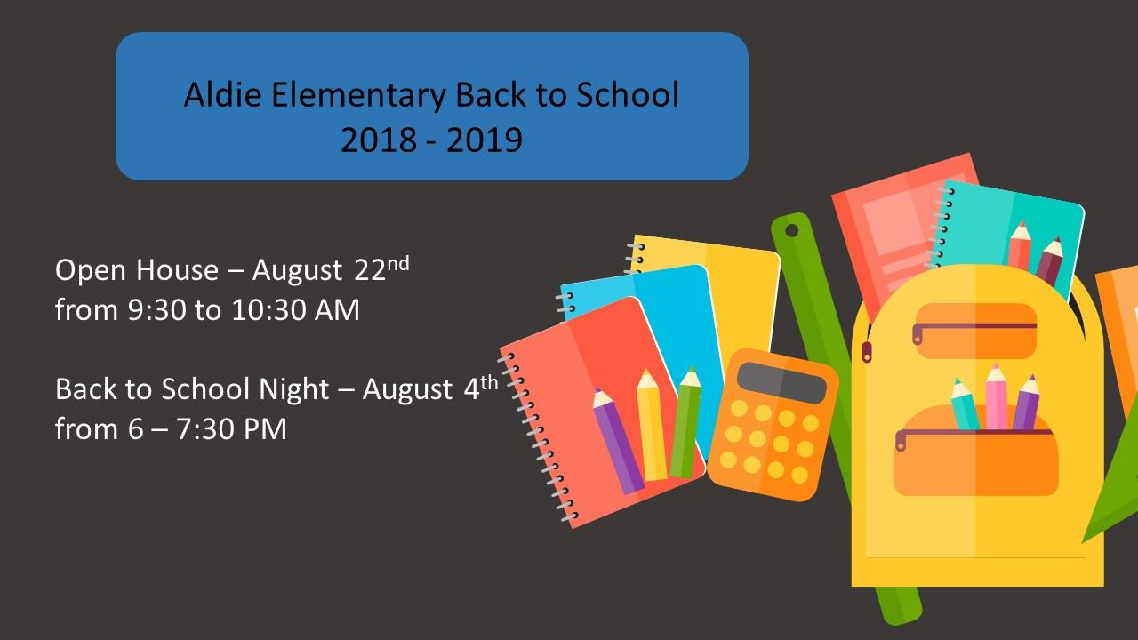 Welcome Back Aldie Parents and Students