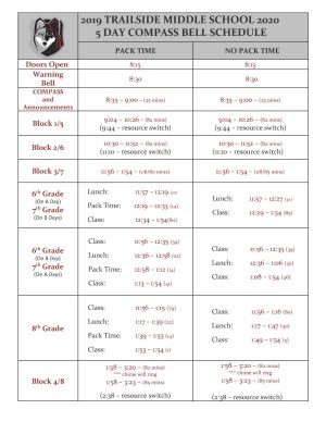 Trailside Bell Schedule