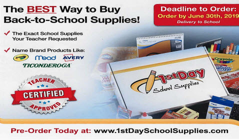 1st Day School Supplies - order by June 30th