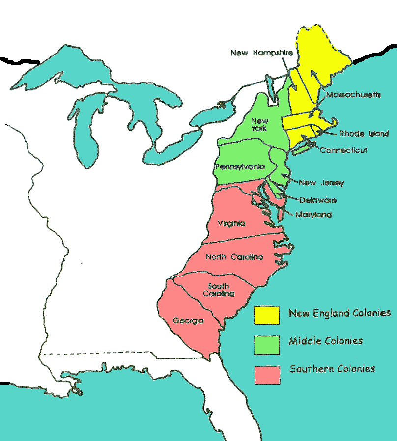 Colonies Map Color Coded - Us map to color blank