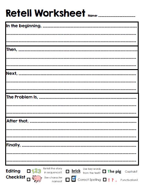 Story Retelling Worksheets For First Grade - Worksheets