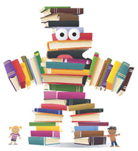 Person made of books