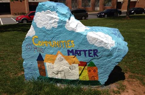 PVHS rock painted for National Library Week
