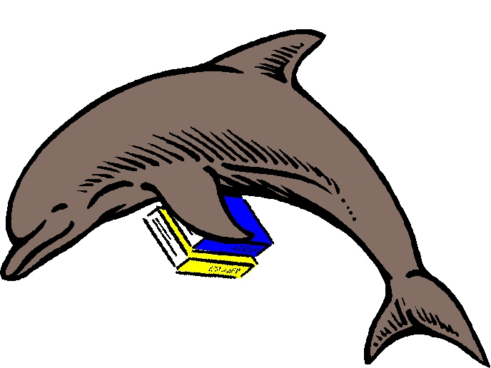 dolphin with books