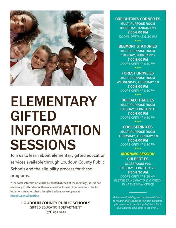 Gifted Information Session Schedule