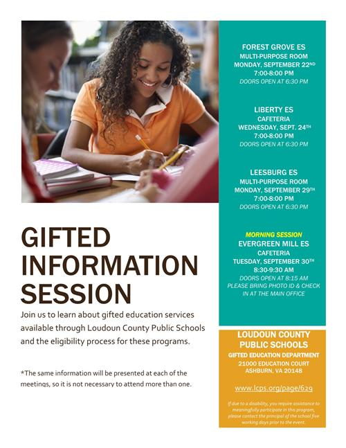 Fall 2014 - Gifted Information Sessions