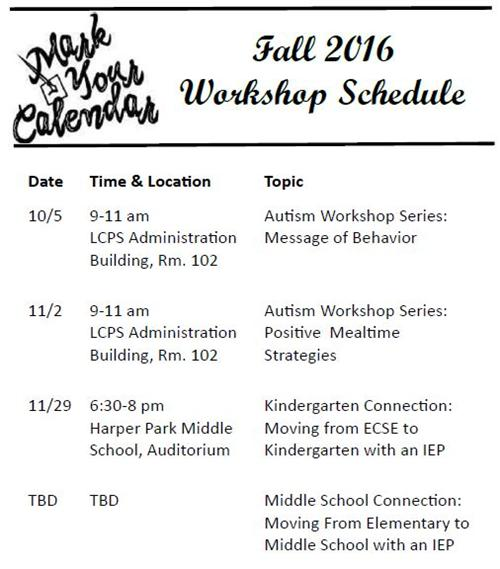 Picture of Fall 2016 Workshop Schedule
