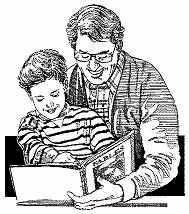 Adult and Child reading